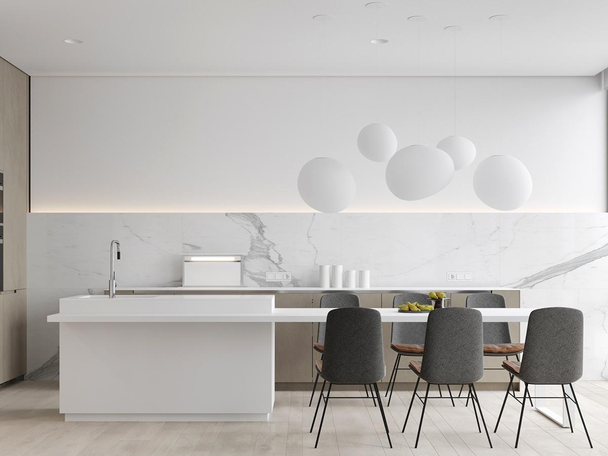 thiết kế nội thất phòng ăn trắng sáng