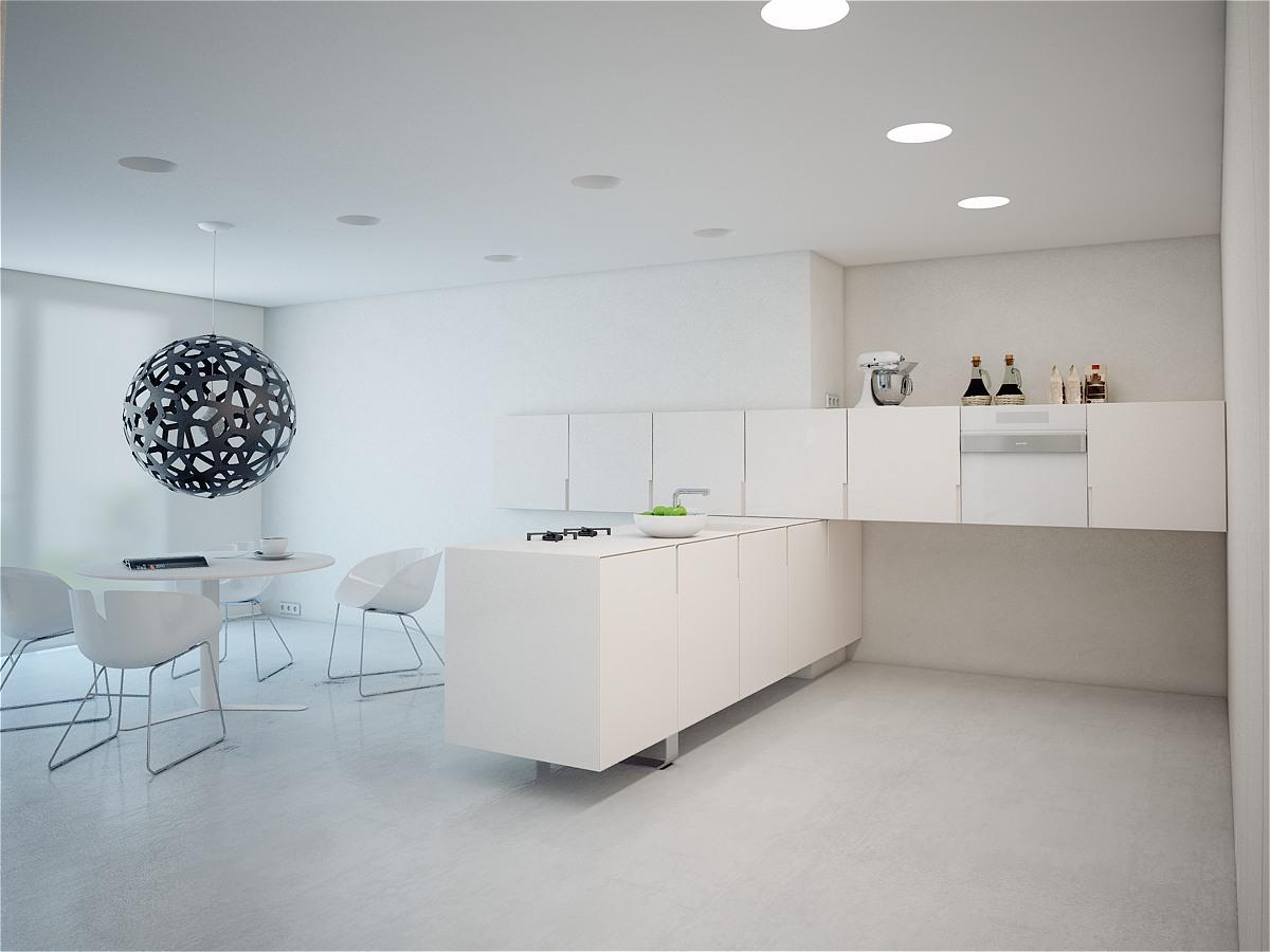 nội thất phòng ăn trắng tinh tế